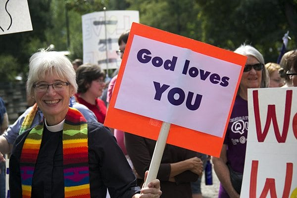 God Loves You was a slogan of Boulder's Pride Festival.