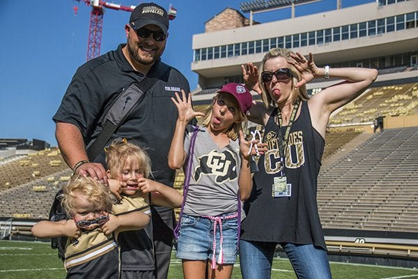 There was no better way to end The GO BUFFS edition of the Faces of Boulder than on the middle of Folsom Field. (Photo Credit Travis Bildahl)