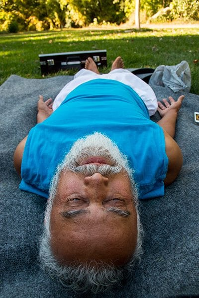 Meditation is a big part of Shankar's life, and he says that it revitalizes the soul. Photo: Travis Bildahl
