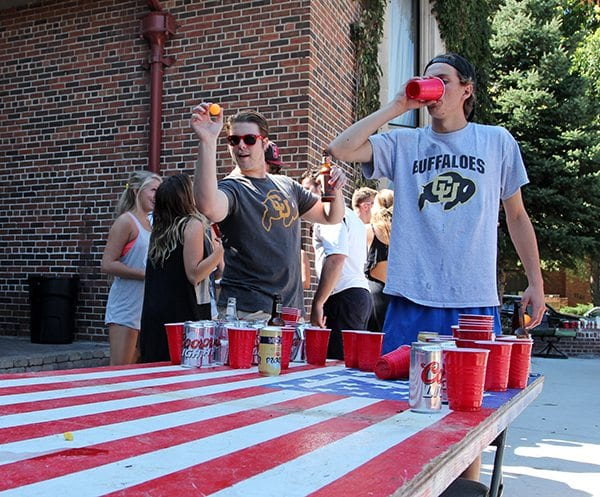 Beer pong is especially popular on Game Day. (Photo Credit Joseph Wirth)