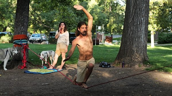 On any given sunny day in Boulder you can find people fighting against gravity while slacklining.