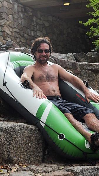 Many tubers go down the rapids at Boulder Creek and hang out. This tuber just so happens to be professionally sponsored.