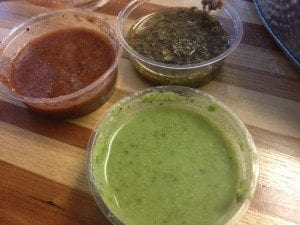 Top left is the Asado, top right is the Chimi and the bottom is the Salsa Verde
