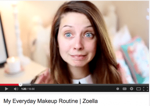 Screen Shot of Zoella on YouTube