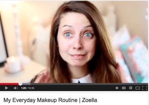 Screen Shot of Zoella on YouTube