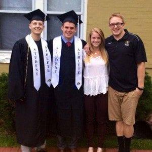 Kyle (Left) celebrates graduation with his best friends.