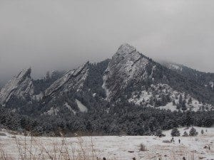 The Flatirons look even mightier dressed in snow