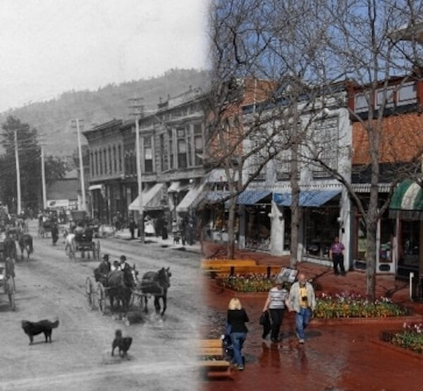 Photo from Positively Pearl Street by Silvia Pettem. Historic photo from the Carnegie Branch Library for Local History. Contemporary photo by Casey A. Cass