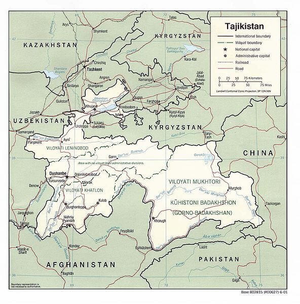 Image Credit: CIA. Tajikistan is just north of India
