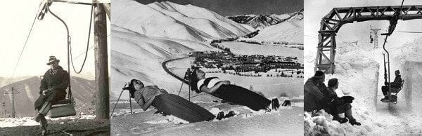 old timey skiing