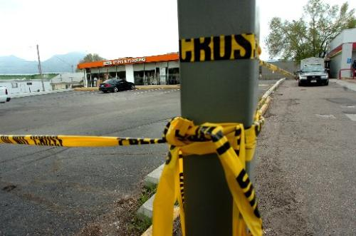 Police car watches over Boulder Stove and Flooring shop. Photo Credit: Paul Aiken // Daily Camera