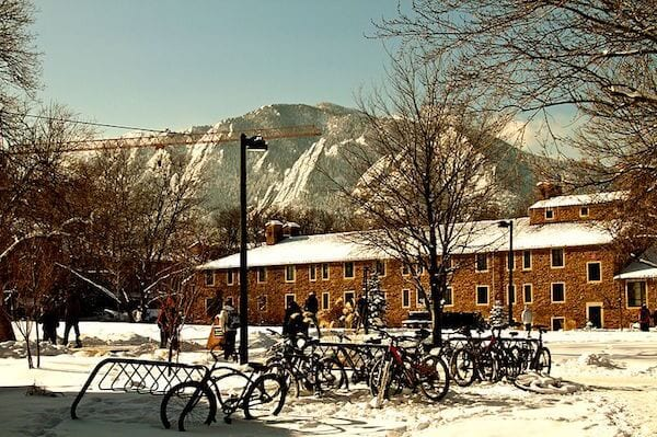 View from CU Boulder's Engineering Quad. Photo Credit: Zach Dischner.