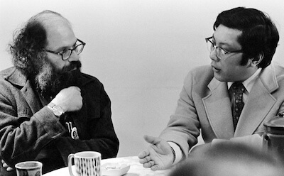 Allen Ginsberg (left) and Chogyam Trungpa Rinpoche (right) in Boulder, CO. Photo Credit: Karen Roper.