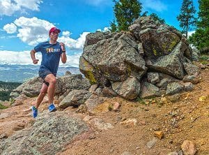 Jeff Pauley runs up Green Mountain in Boulder, CO