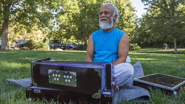 Shankar is also a very talented harmonium musician. A harmonium is a type of pump organ originated in India. Photo: Joseph Wirth