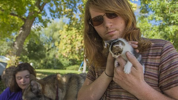 This is Matthew Turbeville and his very rare male calico, Tommy. (Photo: Joseph Wirth)