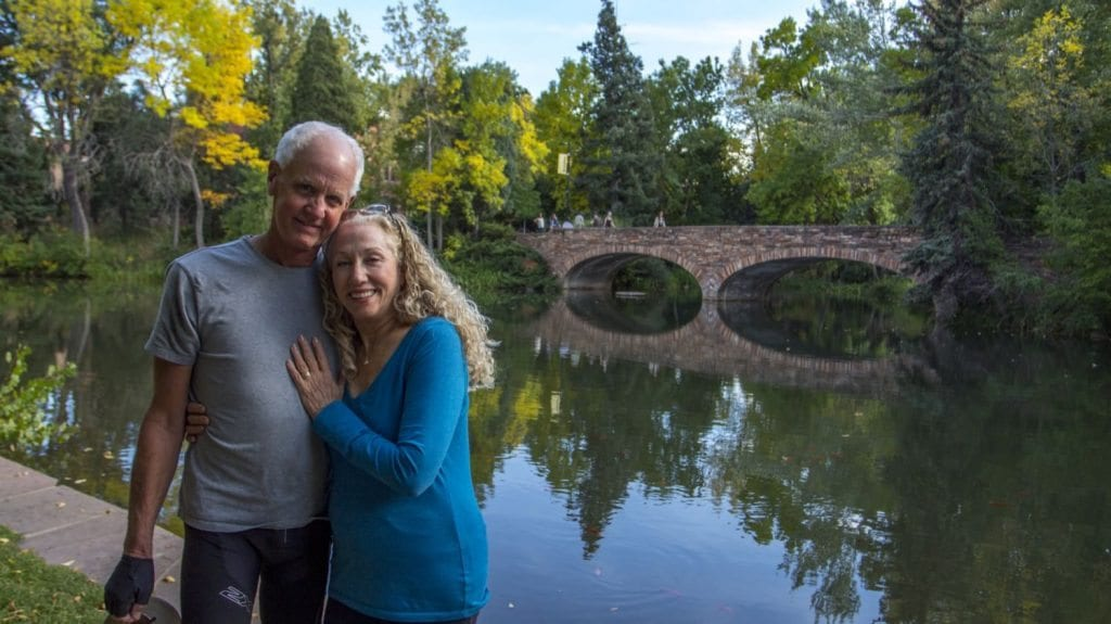 """CU-Boulder's campus is place for more than just students. Dr. Lynn Lawerence and her fiancee Eric met last year on Valentine's Day and are getting married on the holiday next year. Lynn told me, """"It's so nice to find love at 65."""" (Photo: Joseph Wirth)"""