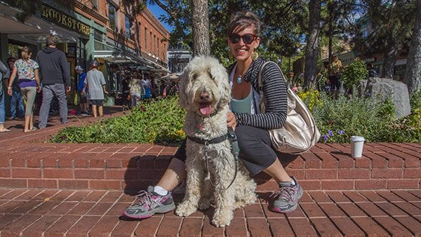 Although there is a law not allowing pets on the Pearl Street Mall it's still pretty laid back for dogs to come shopping. (Photo: Joseph Wirth)
