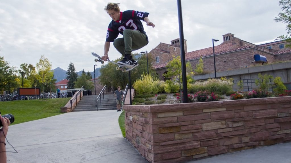 Skateboarding is everywhere across campus. This is Joe Abruzzo sending it off a ledge outside of the Visual Arts Complex. (Photo: Joseph Wirth)