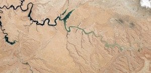 a-reservoir-of-the-colorado-river-lake-powell-stretches-across-the-border-between-utah-and-arizona-since-the-turn-of-the-century-it-has-suffered-from-drought-and-at-the-time-this-picture-was-taken-last-may-it-was-more-than-half-empty