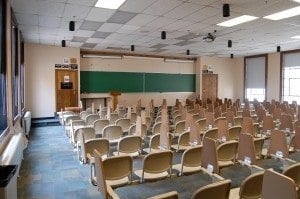 An empty classroom, photo credit places.colorado.edu