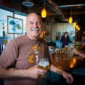 Now that Tom Horst is retired from teaching you can often find him serving some brew in his taproom, chatting with customers.