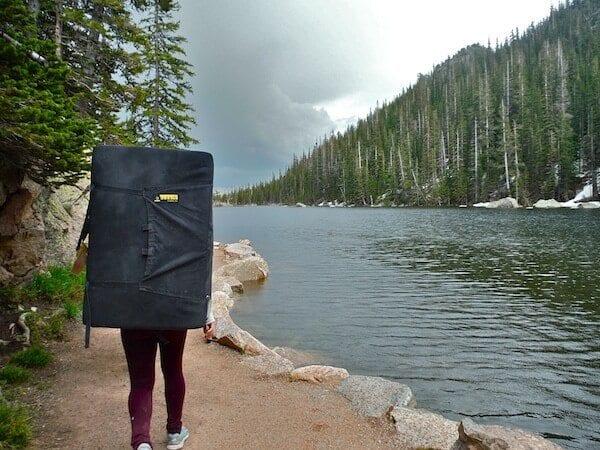 Climber hiking back from Emerald Lake