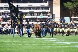 Ralphie leading the CU Football onto the field