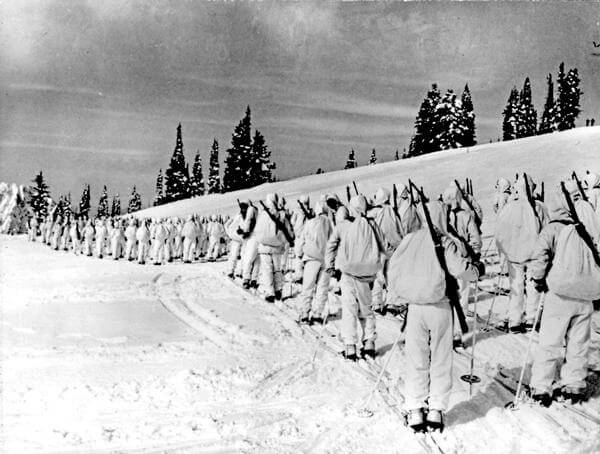 The 10th Mountain Division is pictured in this file photo dating back to 1943. The 10th Mountain Division, an elite mountain unit made up of Olympic-caliber skiers, champion ice skaters, mountain climbers, cowboys, and miners, trained at Camp Hale in Colorado. They skied on 7-foot-long wooden skis, snowshoed, rock climbed and built snow caves in anticipation of defending mountainous coastal areas of the United States and besting the enemy in the mountains of Europe. Denver Post Files