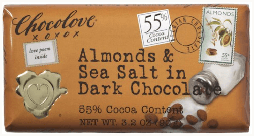 Almond & Sea Salt in Dark Chocolate Bar. (Photo Credit: Chocolove.com)