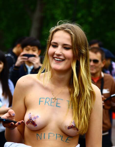 Free the Nipples advocate in London. Photo Credit: Funk Dooby.