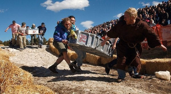 A coffin race during Frozen Dead Guy Days in 2005. Photo Credit Joshua Beck/The Longmont Daily Times-Call, via Associated Press