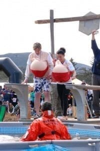 A pair of boobs prepping for the Polar Plunge