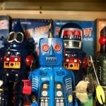 blue and black robot figurine