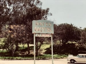 Bates Motel signage near tree